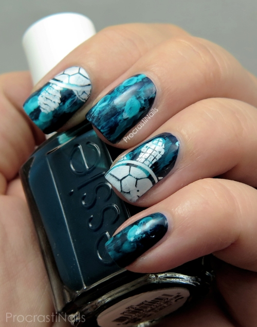 Turtle stamping nail are with Essie and Konad