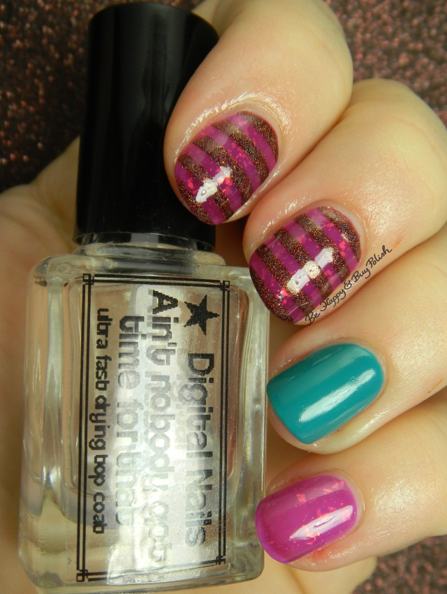 Pahlish Hundred Eyes, Elevation Polish Angels are the Yeti of the Clouds 2, OPI Taylor Blue striped manicure | Be Happy And Buy Polish