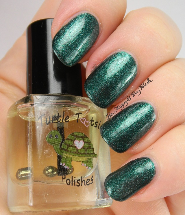 Turtle Tootsie Polishes Pumpkin Cheesecake top coat with 5 Months of Bills | Be Happy And Buy Polish