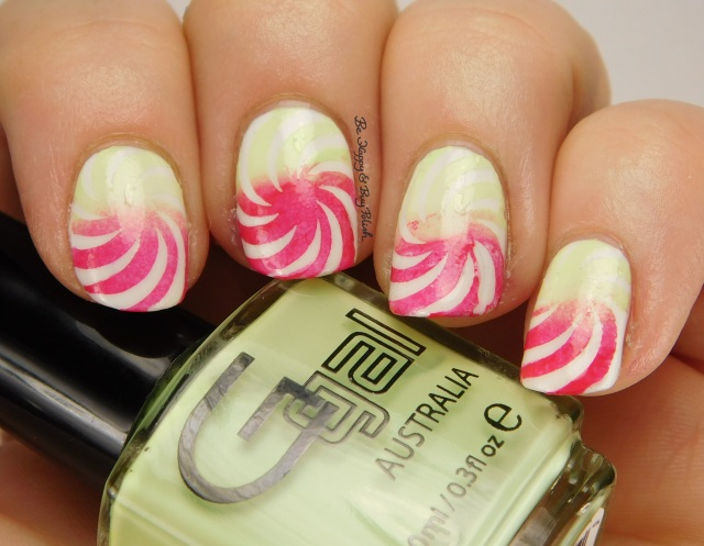 Candy Cane pinwheel nail art with Glitter Gal Cosmetics | Be Happy And Buy Polish