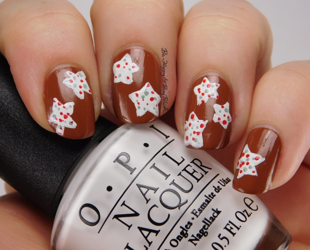 Christmas Cookie nail art with OPI nail polishes | Be Happy And Buy Polish