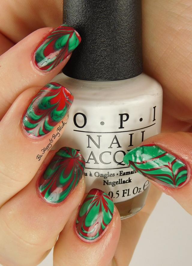 Christmas green + red watermarble hand pose | Be Happy And Buy Polish