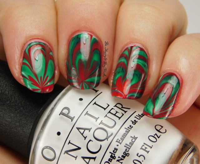 Christmas green + red watermarble side pose | Be Happy And Buy Polish