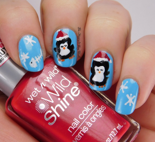 Christmas Penguin nail art with Wet n Wild nail polishes | Be Happy And Buy Polish