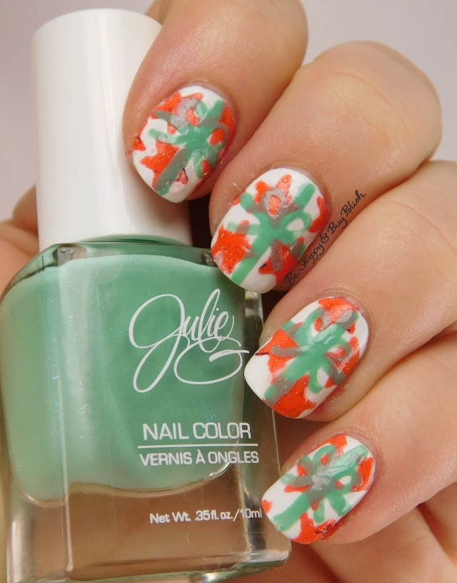 Christmas present nail art with JulieG nail polishes | Be Happy And Buy Polish