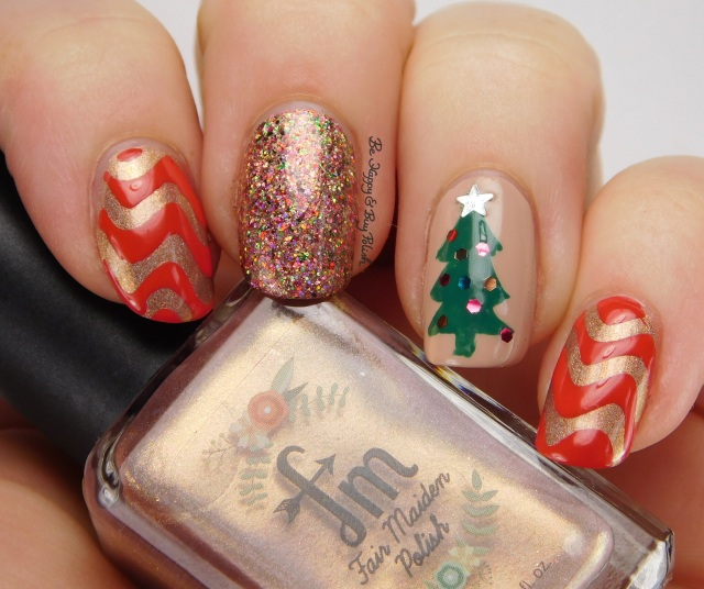 Christmas tree mani with Fair Maiden Polish Secret Garden | Be Happy And Buy Polish