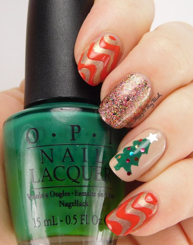 Christmas tree mani with OPI nail polishes | Be Happy And Buy Polish