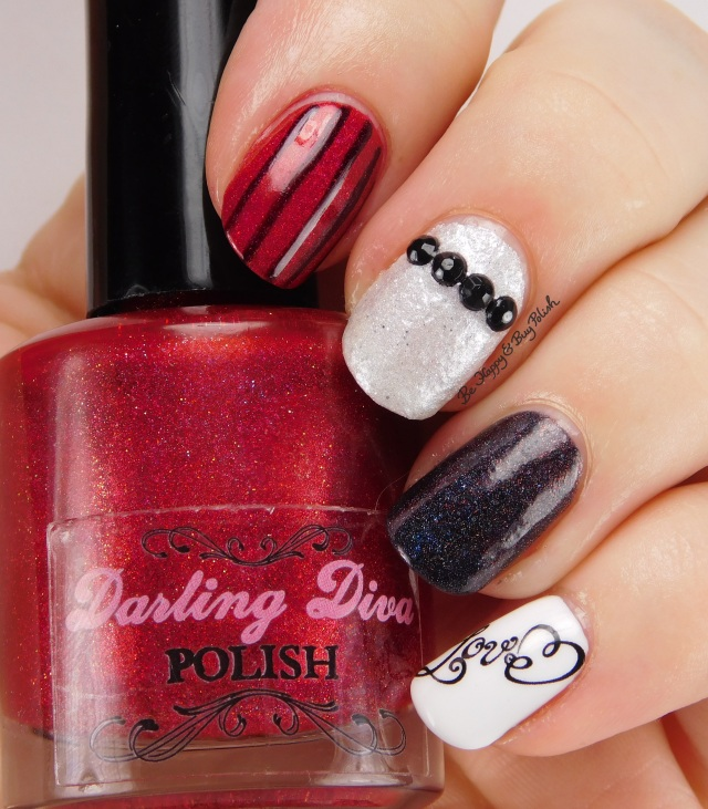 Love Stripe skittlette manicure with Darling Diva Polish | Be Happy And Buy Polish
