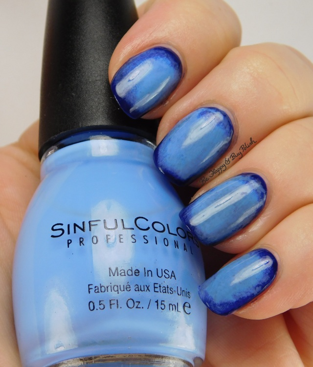 radial gradient nail art with Sinful Colors Into the Blue and Sail La Vie | Be Happy And Buy Polish