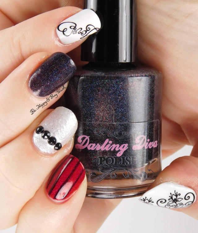 Skittlette Manicure with KBShimmer flower decals and Darling Diva Polish | Be Happy And Buy Polish