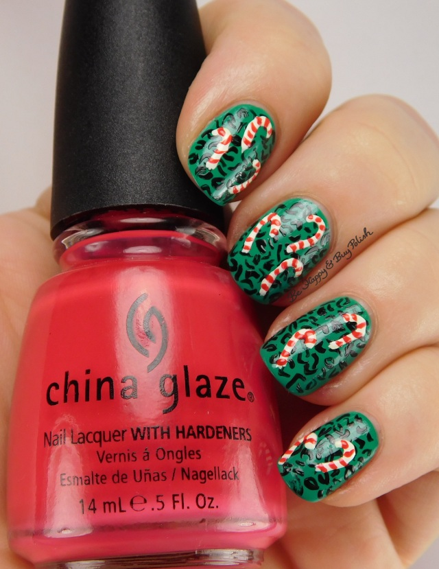 Ugly Sweater nail art with China Glaze Four Leaf Clover, Liquid Leather, Mediterranean Charm, Sinful Colors Snow Me White | Be Happy And Buy Polish