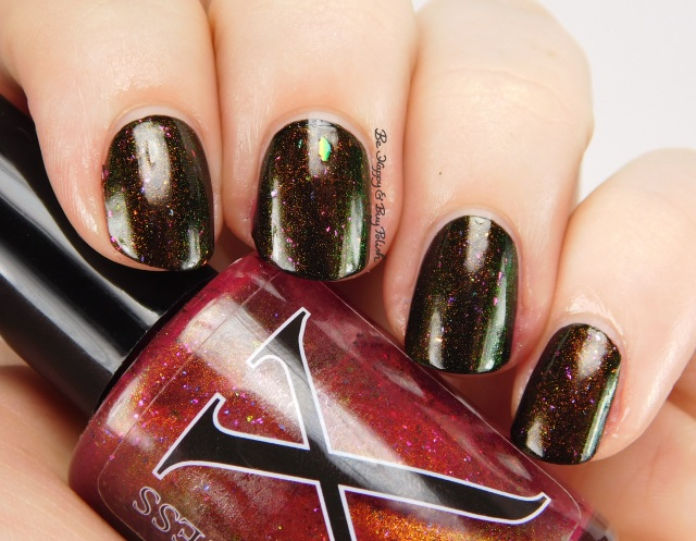 Baroness X Molino over China Glaze Liquid Leather side pose | Be Happy And Buy Polish
