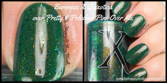 Baroness X Quixotica over Pretty & Polished Pine Over Me Ex Libris nail polish collection | Be Happy And Buy Polish
