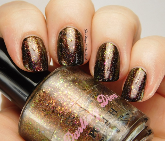 Darling Diva Polish Cover It In Gravy over China Glaze Liquid Leather side pose | Be Happy And Buy Polish