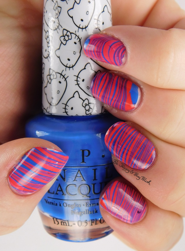 Hello Kitty OPI 5 Apples Tall + My Pal Joey right hand watermarble | Be Happy And Buy Polish