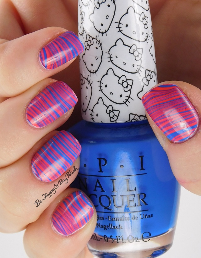 Hello Kitty OPI 5 Apples Tall + My Pal Joey watermarble left hand | Be Happy And Buy Polish
