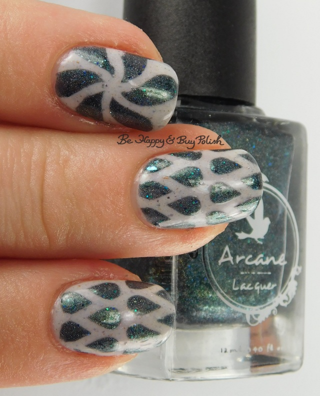 Arcane Lacquer Circles, Cycles + Seasons, Pahlish white grey flakie mystery water drop nail art 3-finger pose | Be Happy And Buy Polish