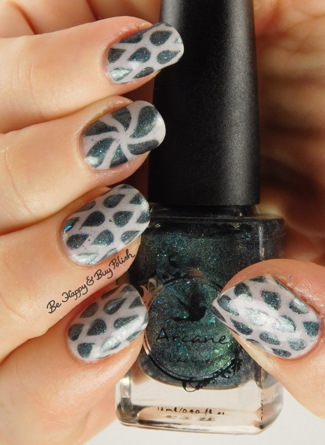 Arcane Lacquer Circles, Cycles + Seasons, Pahlish white grey flakie mystery water drop nail art full hand pose | Be Happy And Buy Polish