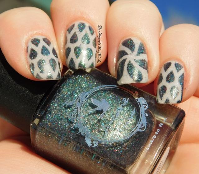 Arcane Lacquer Circles, Cycles + Seasons, Pahlish white grey flakie mystery water drop nail art sun photo | Be Happy And Buy Polish