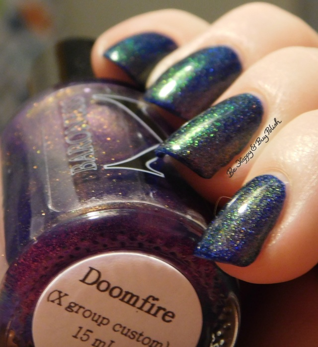 Baroness X Doomfire over OPI Give Me Space blue to green to gold shift | Be Happy And Buy Polish