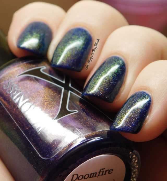 Baroness X Doomfire over OPI Give Me Space green to blue to gold shift | Be Happy And Buy Polish
