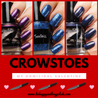 CrowsToes Nail Color My Homicidal Valentine trio swatch + review