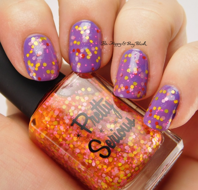 Pretty Serious Cosmetics Daphne's Disco Party over Formula X Infinity side pose | Be Happy And Buy Polish