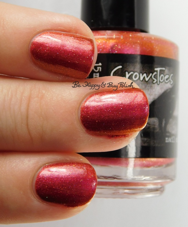 CrowsToes Nail Color Hot Headed Red 3-finger pose | Be Happy And Buy Polish