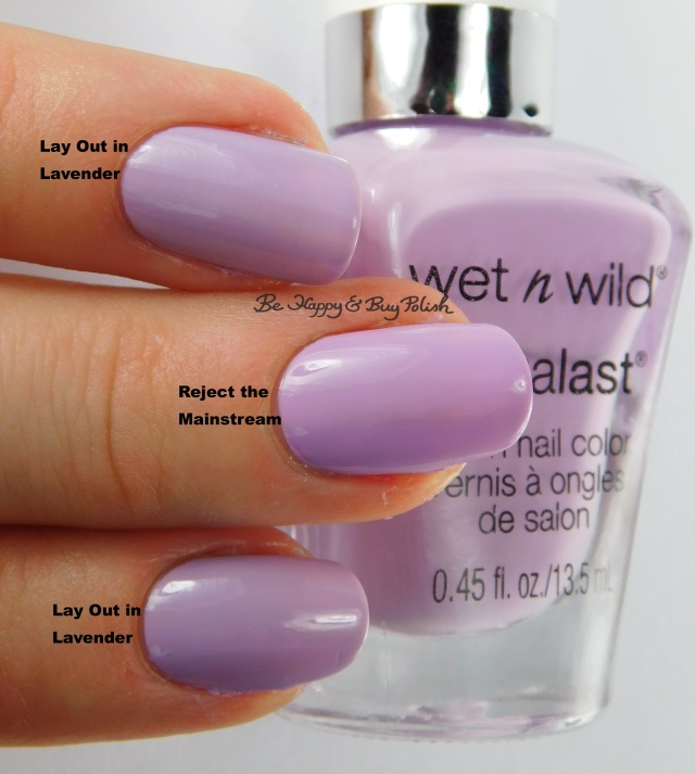 Wet N Wild Megalast Lay Out In Lavender compared to Reject the Mainstream | Be Happy And Buy Polish