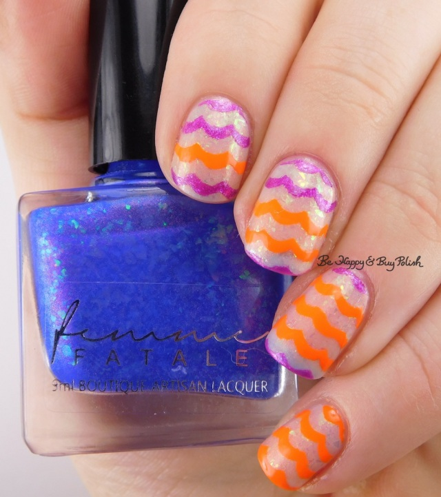 Femme Fatale Blue-Within-Blue Eyes warm state, Formula X Hyped, China Glaze Japanese Koi wavy lines nail art | Be Happy And Buy Polish