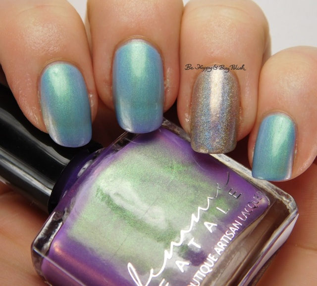 Femme Fatale Cosmetics Glass Coffin natural state + Indigo Bananas Call Me Mabel Oops | Be Happy And Buy Polish