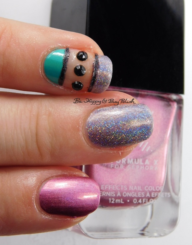 Formula X Voodoo, ILNP Home Sweet Home, Daisy Island Oasis nail art closeup | Be Happy And Buy Polish