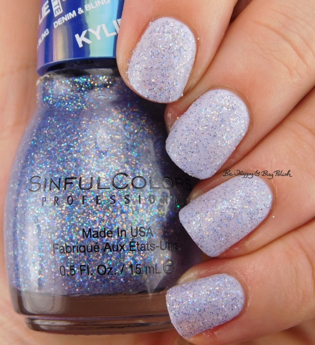 SinfulColors Kloud 9 over Magik Touch Kylie Denim + Bling | Be Happy And Buy Polish
