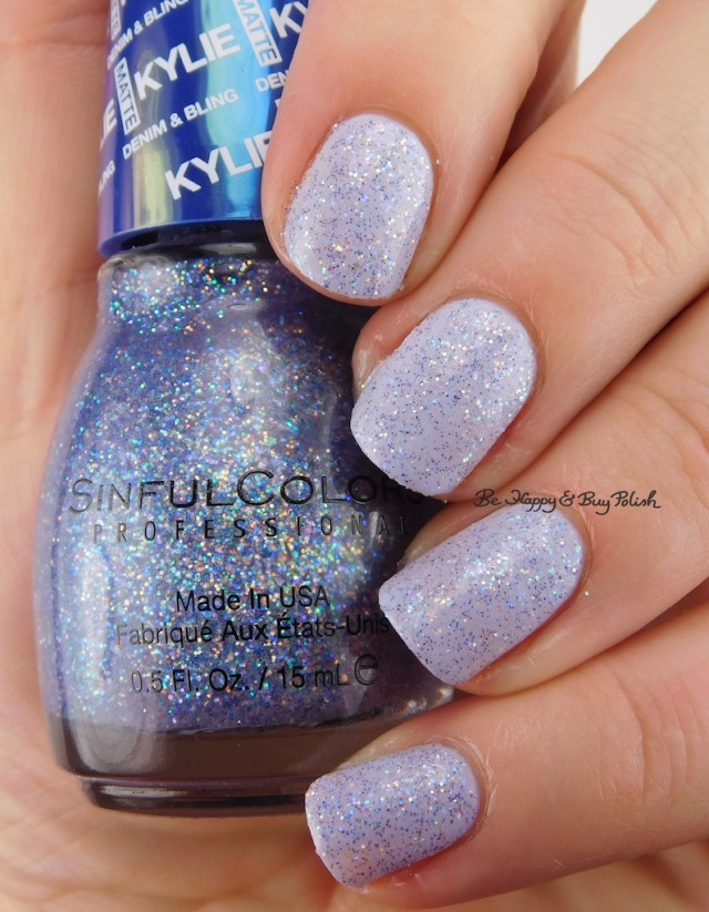 SinfulColors Kloud 9 over Magik Touch with top coatKylie Denim + Bling | Be Happy And Buy Polish