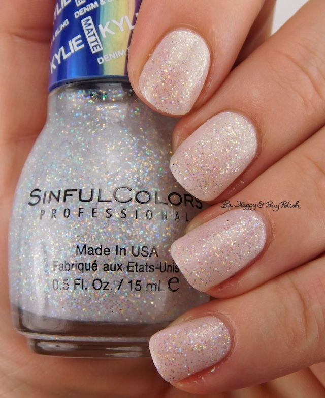SinfulColors Konfection over Angelik with top coat Kylie Denim + Bling | Be Happy And Buy Polish