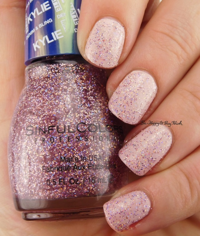SinfulColors Kosmic over Kitty Pink with top coat Kylie Denim + Bling | Be Happy And Buy Polish