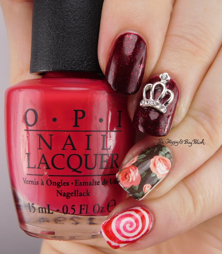 Queen of Roses birthday nail art