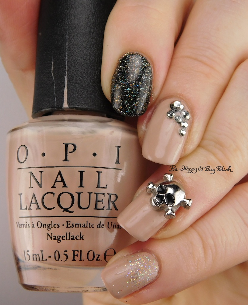 Neutral but Sparkly Skull Nail Art | Be Happy and Buy Polish