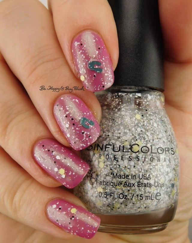 Sinful Colors Camo Glitter Good Company over Sinful Colors Iridescent Color Shell Out | Be Happy And Buy Polish