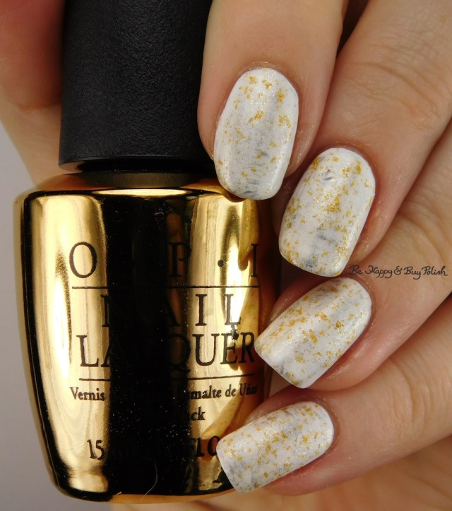 OPI Alpine Snow, Don't Speak, Silver Canvas brush manicure | Be Happy And Buy Polish