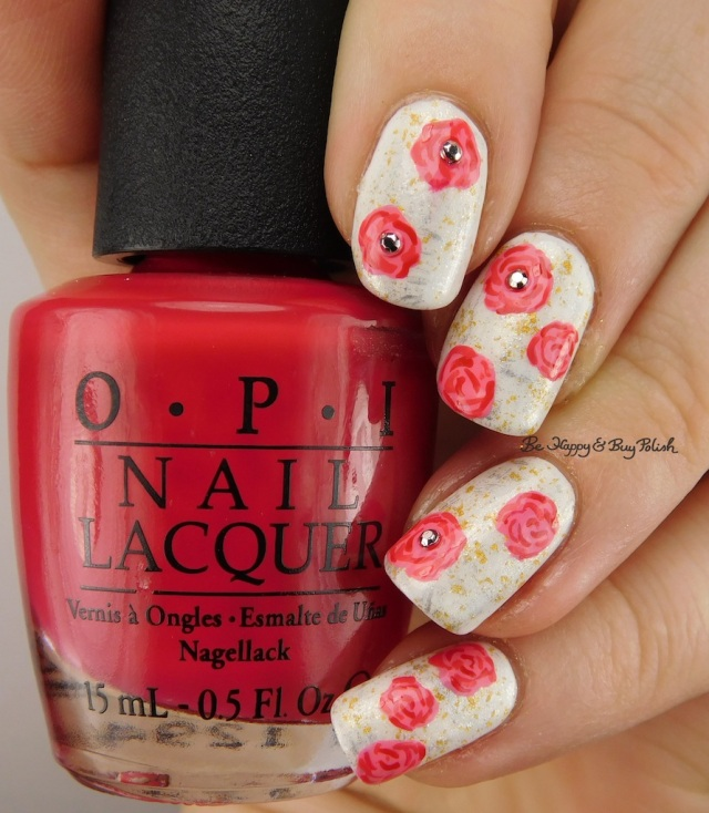 OPI brush and rose nail art manicure | Be Happy And Buy Polish