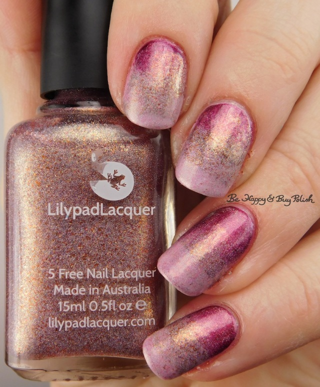 Lilypad Lacquer Nice As Spice, Celestial Cosmetics LE May 2016, Sephora by OPI Ruby Without a Cause gradient | Be Happy And Buy Polish