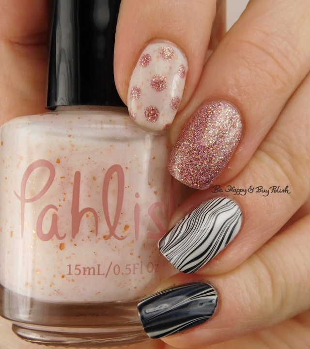 Pahlish Munchkinland, Fancy Gloss Pixie Rose, black white watermarble | Be Happy And Buy Polish