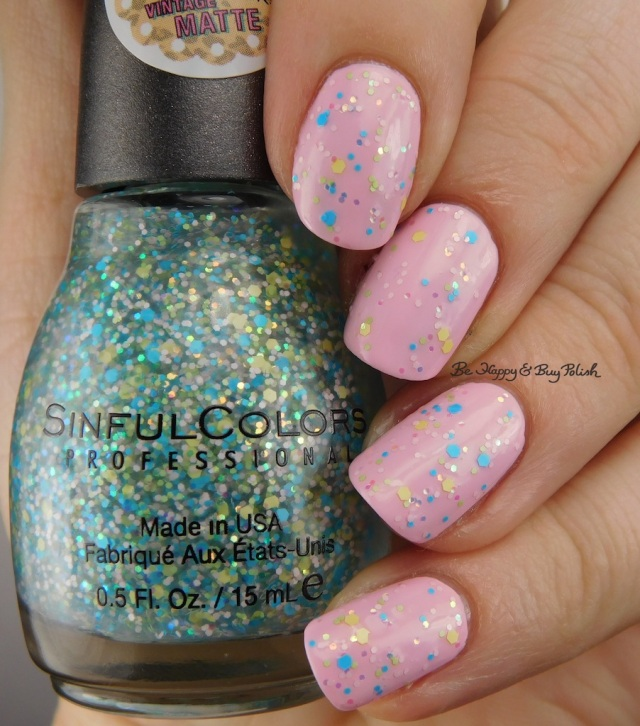 Sinful Colors Kanfetti over Sinful Colors Strawberry Milk | Be Happy And Buy Polish