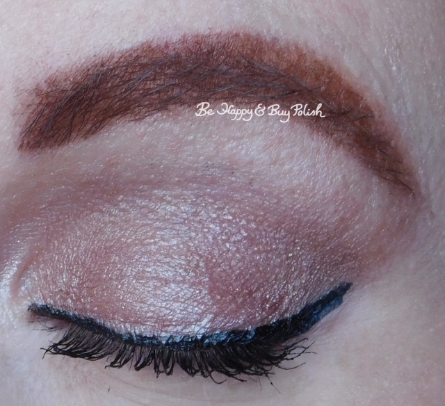 Wet N Wild Au Naturel Bare Necessities eyeshadow palette, Skinny Tip Eyeliner, Lash Renegade mascara closed eye | Be Happy And Buy Polish