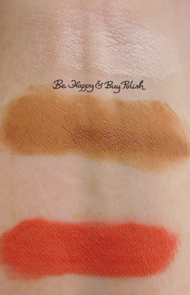 Wet N Wild Mega Cushion Highlight Who's That Pearl, Contour Cafe Au Slay!, soft matte lip cream Melon It Like It Is arm swatches | Be Happy And Buy Polish