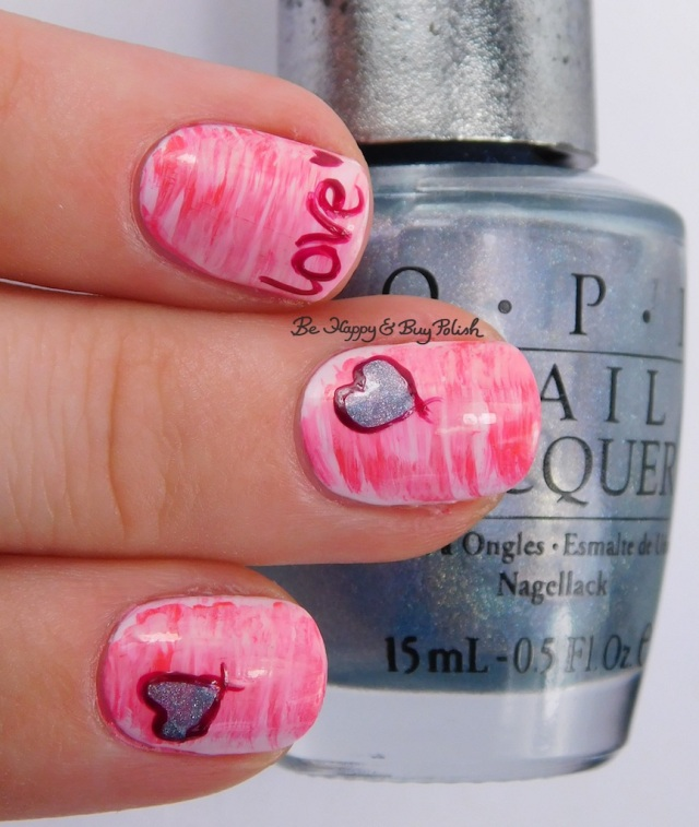 heart fan brush gradient nail art with OPI nail polish | Be Happy And Buy Polish