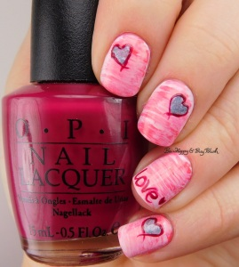 love heart fan brush gradient nail art with OPI nail polishes | Be Happy And Buy Polish