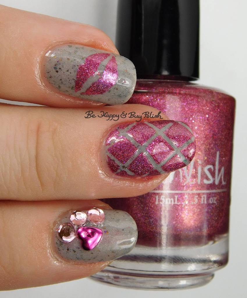 Valentine\'s Day Kisses nail art with Pahlish + Pretty & Polished ...
