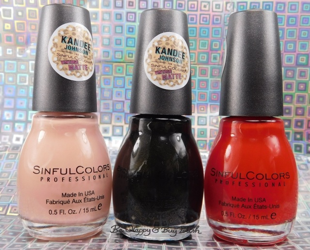 Sinful Colors Kandee Johnson Vintage Matte Peaches N' Cream, Licorice, Cherry on Top nail polish | Be Happy And Buy Polish